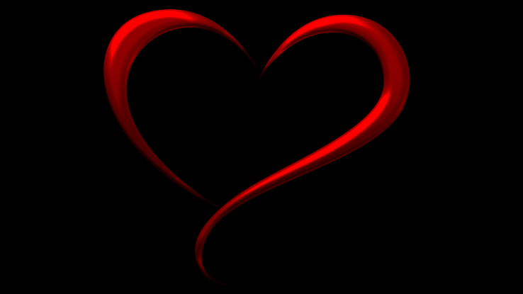 black - red heart